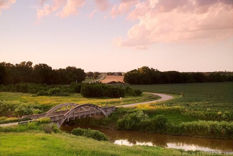 Kansas sunset above a bridge