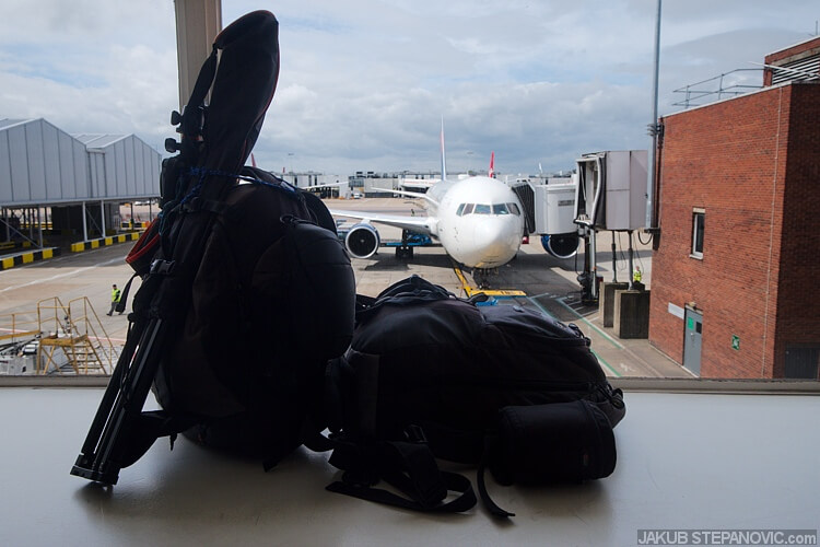 "Here, one backpack of cameras, one with a laptop and stuff pictured at Heathrow Airport. If you've ever wondered if you can carry on a 50-inch lightstand, yes you can. (""It is a camera tripod, not a rifle."" One security officer said in to his radio while I was entering the airport)"