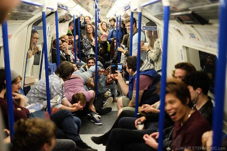 Party in the tube somewhere under Soho, one late evening