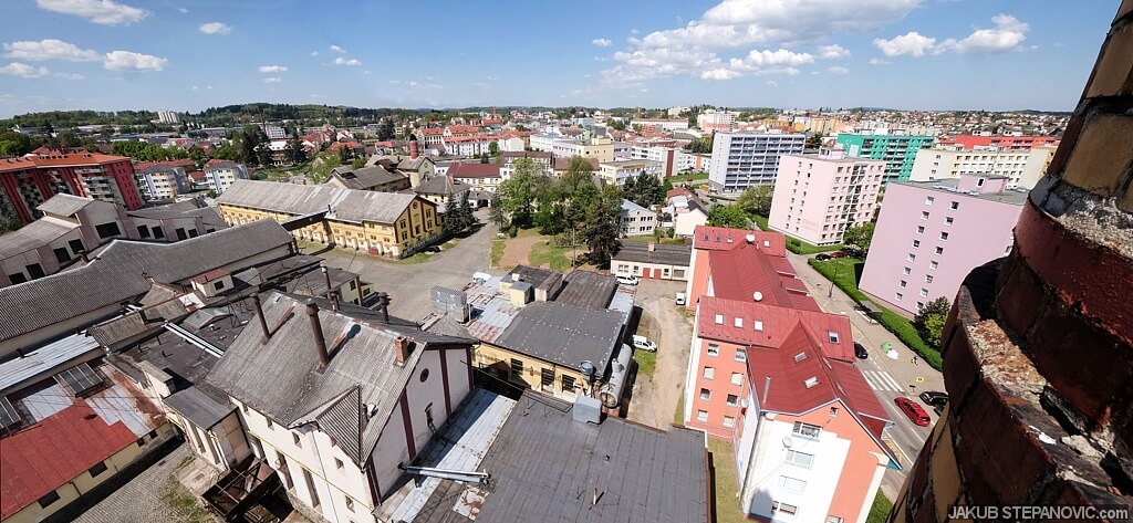 a part of Benesov, as seen from the stack. click for bigger.