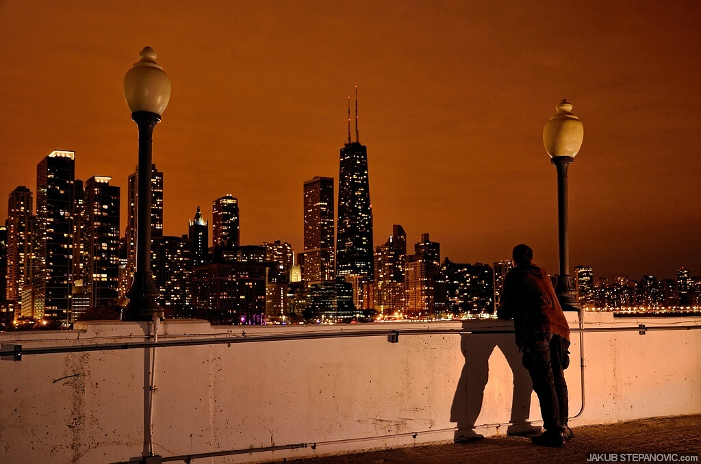 Meanwhile in Chicago.. On the top of a garage. Noone around, just you and the view.