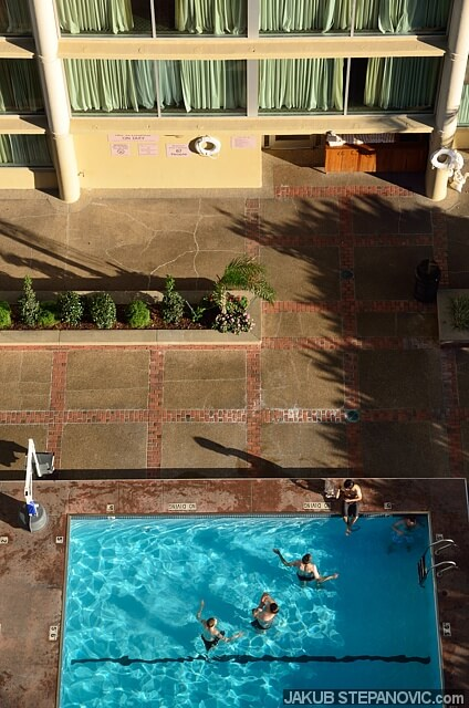 A swimming pool just outside a hotel. Sweet, but you don't have to travel a globe to experience this, do you?