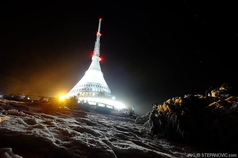 Jested, a transmission tower / hotel located on the top of a mountain just next to Liberec
